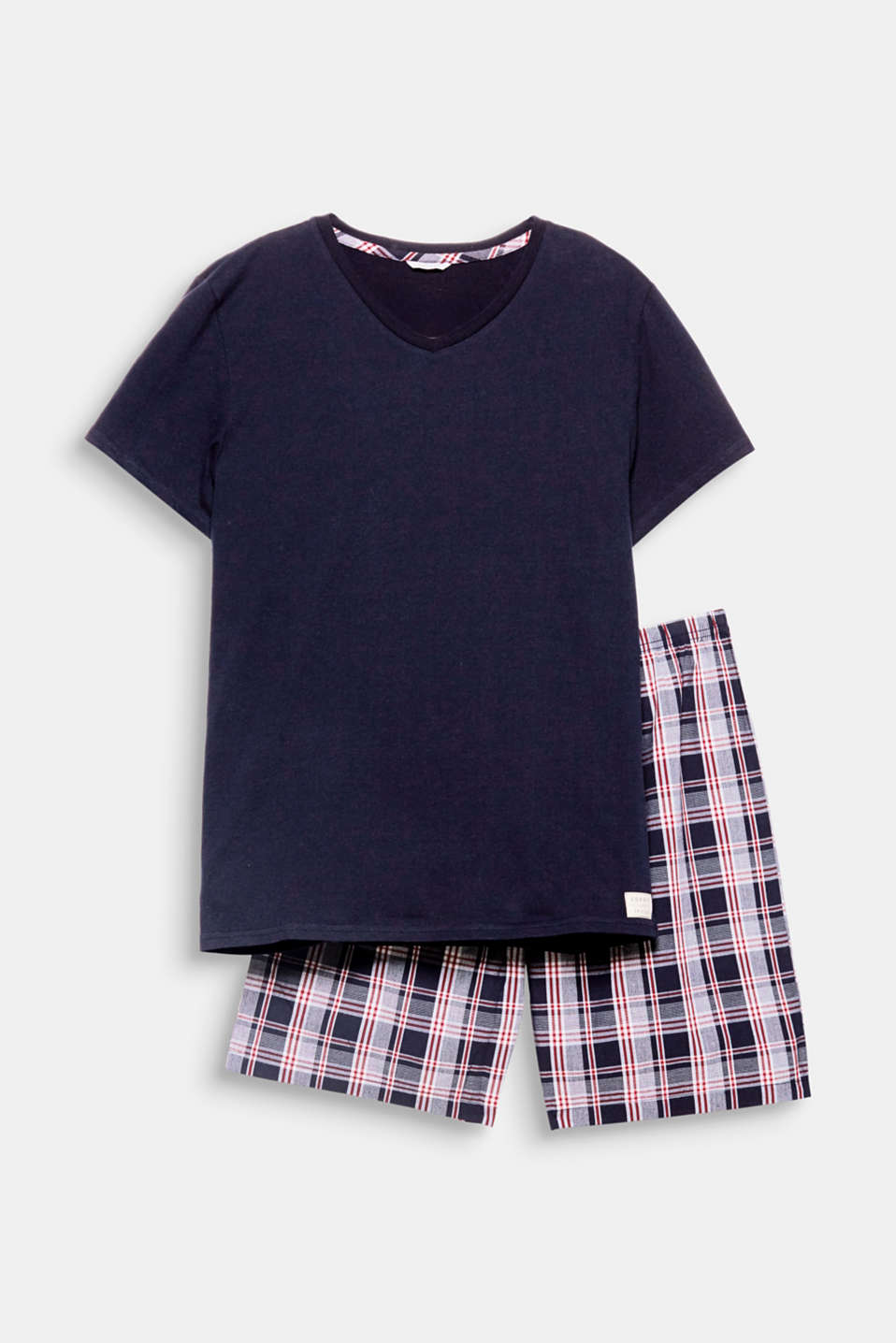 Put them on and feel good – it's simple with these summery pyjamas, which feature a plain-coloured V-neck T-shirt and check woven check Bermudas!