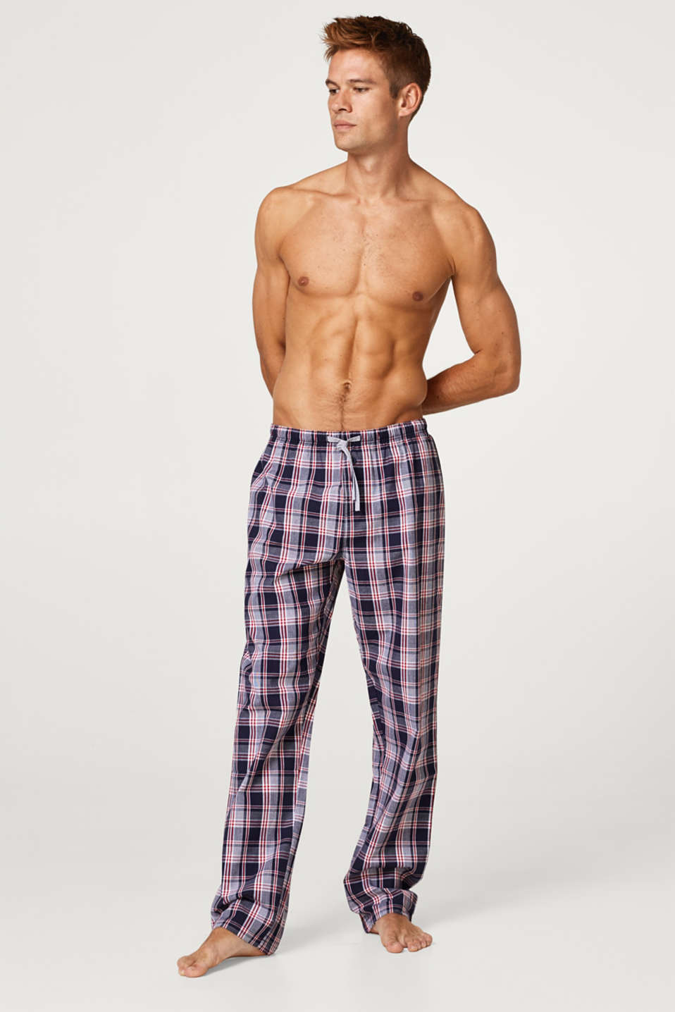 Esprit - Pyjama bottoms with a check pattern, 100% cotton