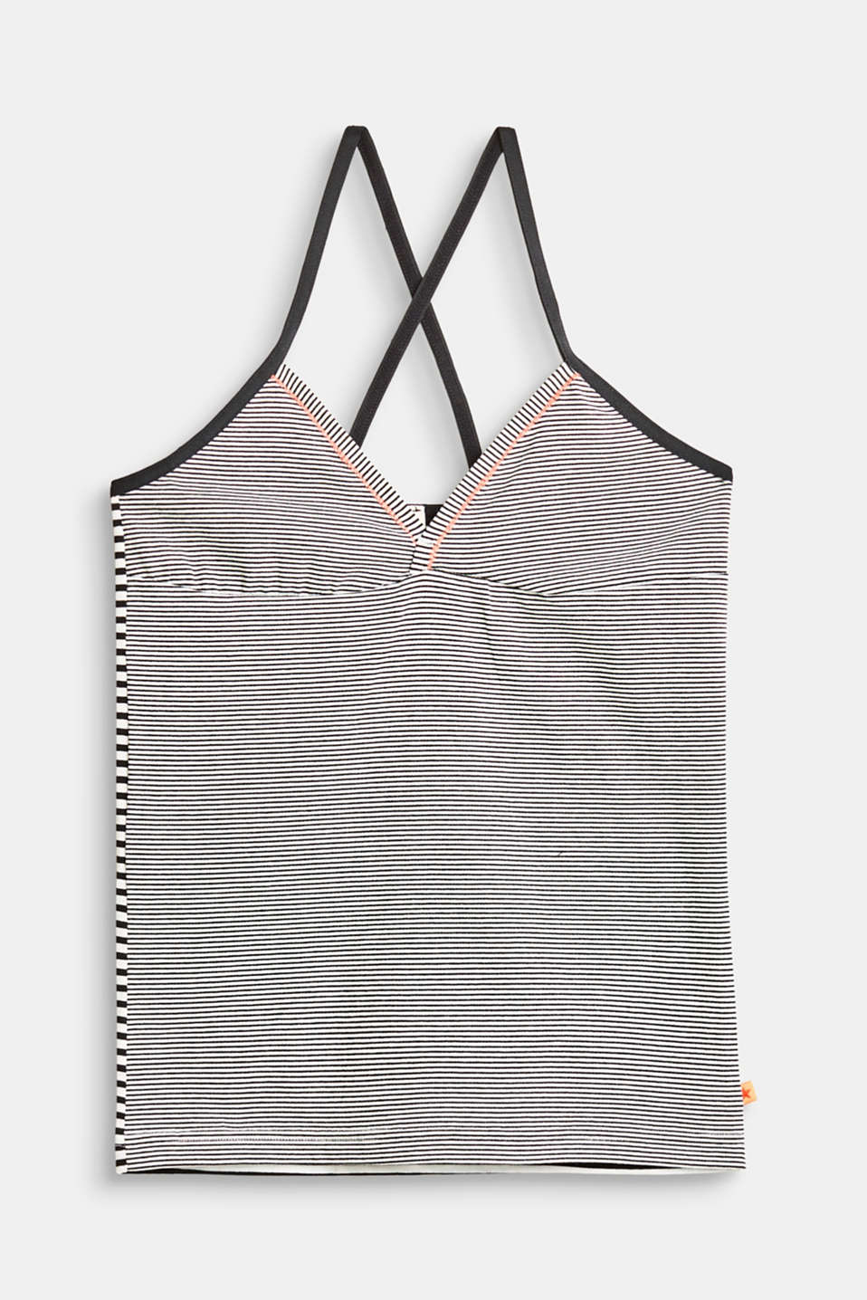 Esprit - Top in jersey a righe con spalline incrociate