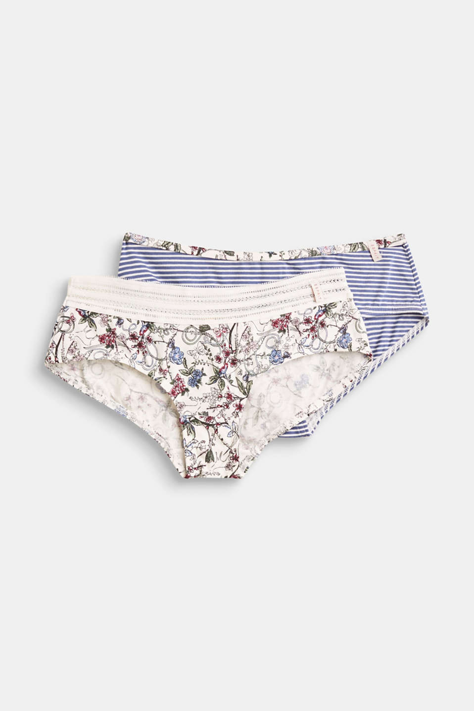 Esprit - Lot de 2 shortys taille basse en coton stretch