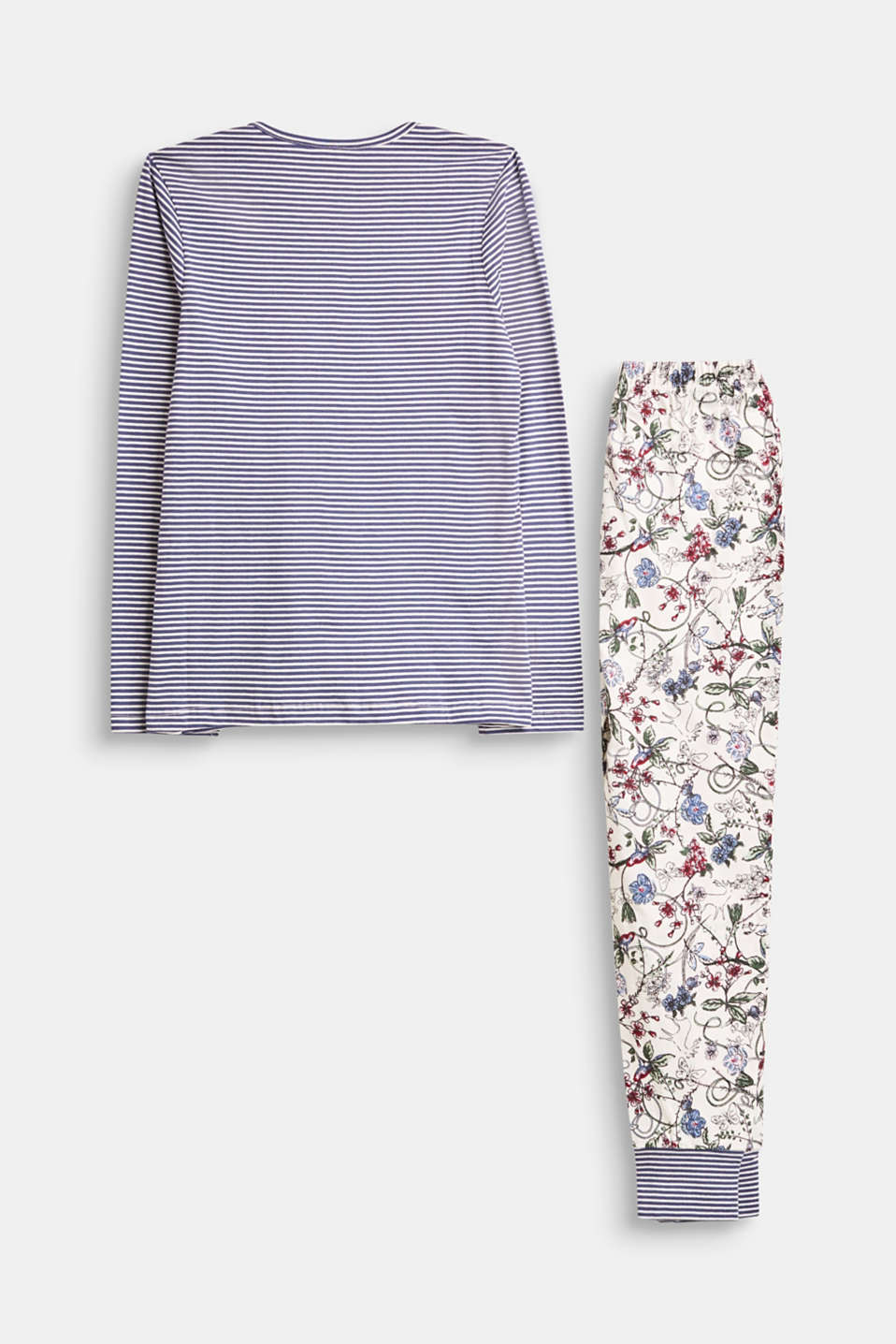 Pyjama set with a mix of stripes and flowers, 100% cotton