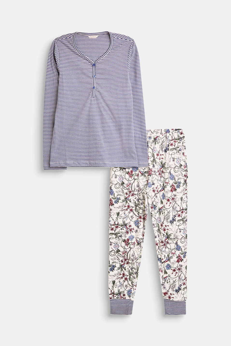 Esprit - Pyjama set with a mix of stripes and flowers, 100% cotton