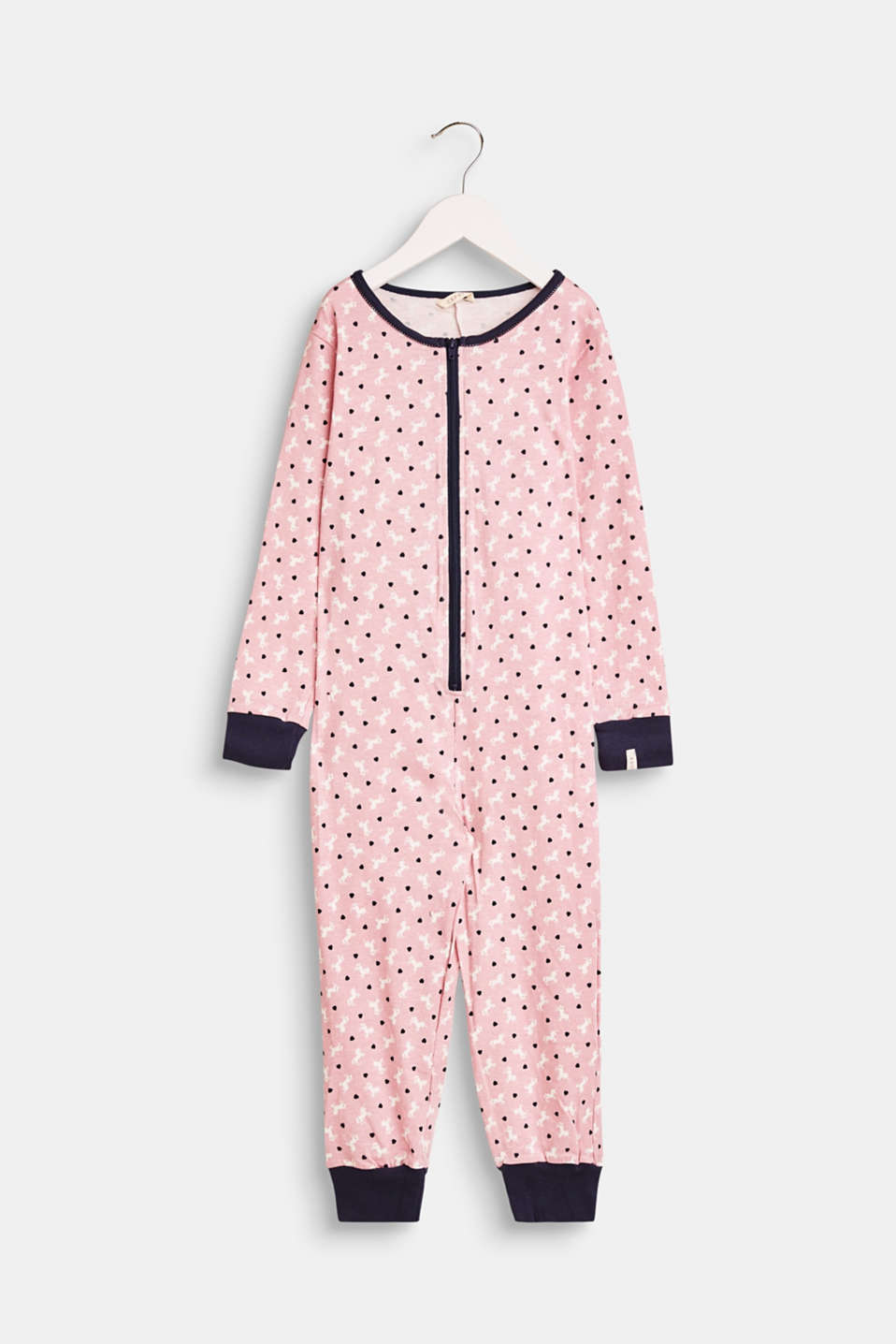 Esprit - Jumpsuit with a unicorn print in stretch cotton