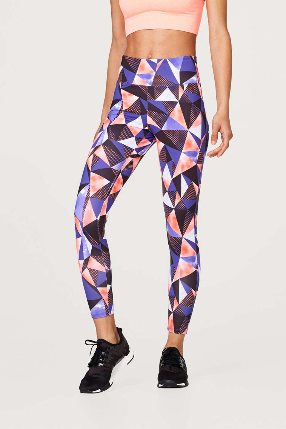 Esprit - Active trousers with a graphic print, E-DRY