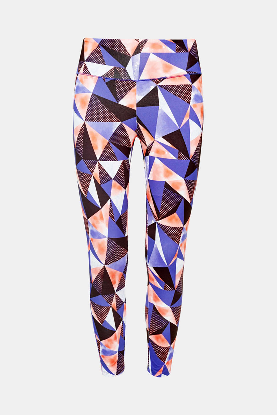 And off you go! Working out is even more fun in these colourful active trousers with E-DRY technology and a colourful geometric print!