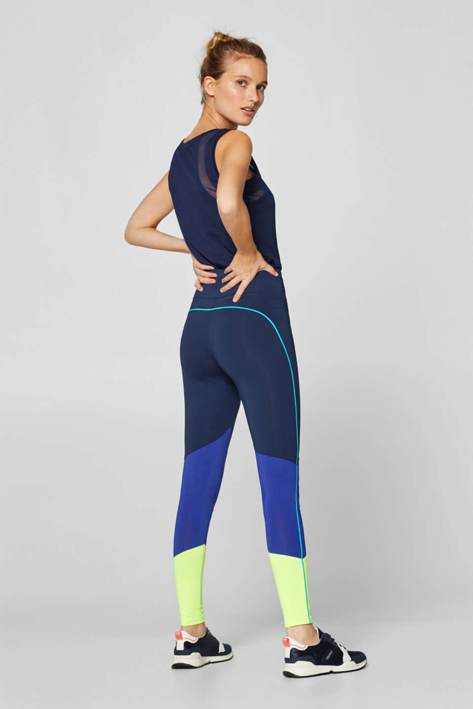 Esprit - Active leggings with colour blocking, E-DRY
