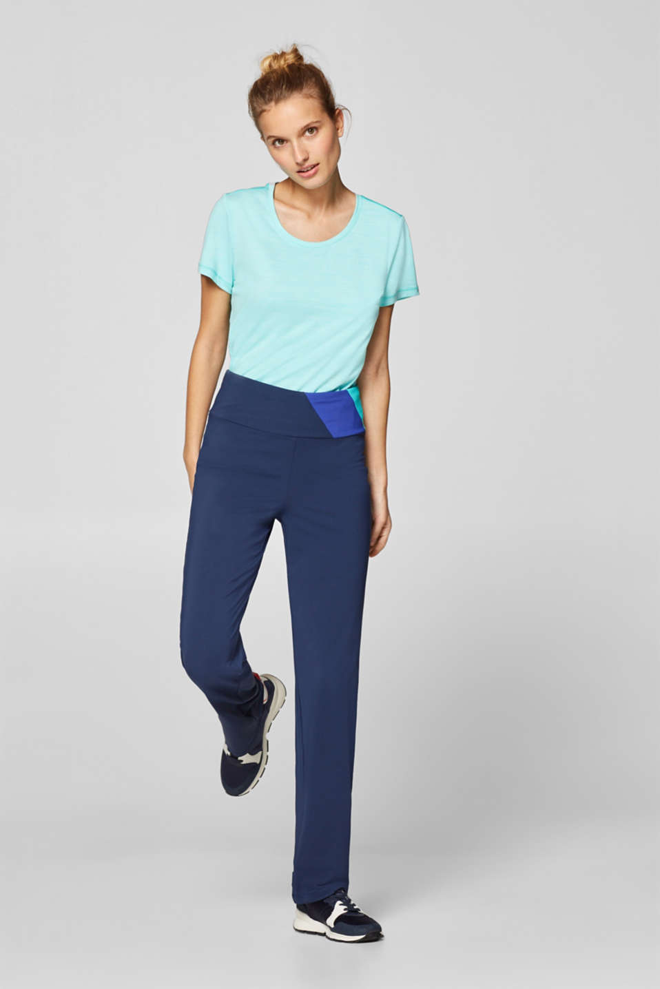 Esprit - Jazzbroek met colour block, E-DRY