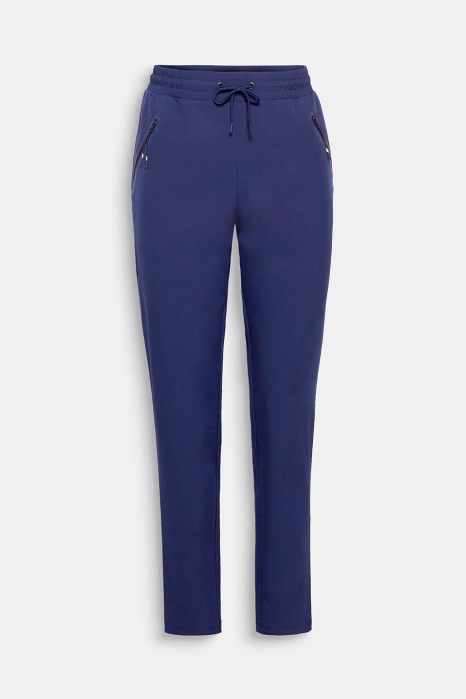 Comfortable, casual, functional: these active trousers made of lightweight fabric feature a comfortable elasticated waistband, rubberised zip pockets and E-DRY technology.