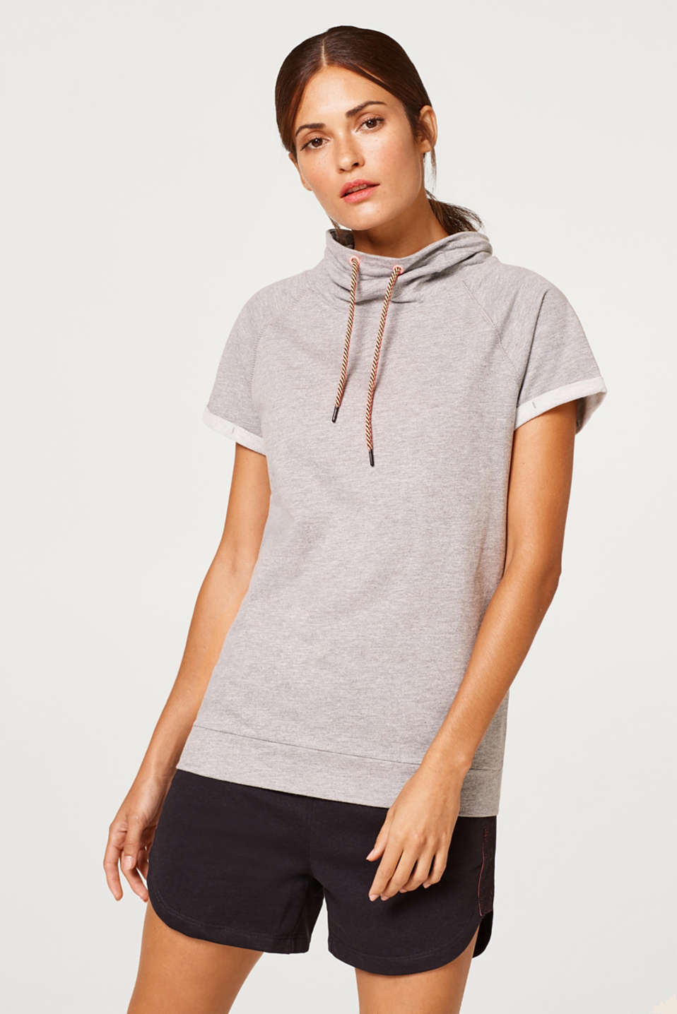 Esprit - Summer sweatshirt with a high band collar, blended cotton