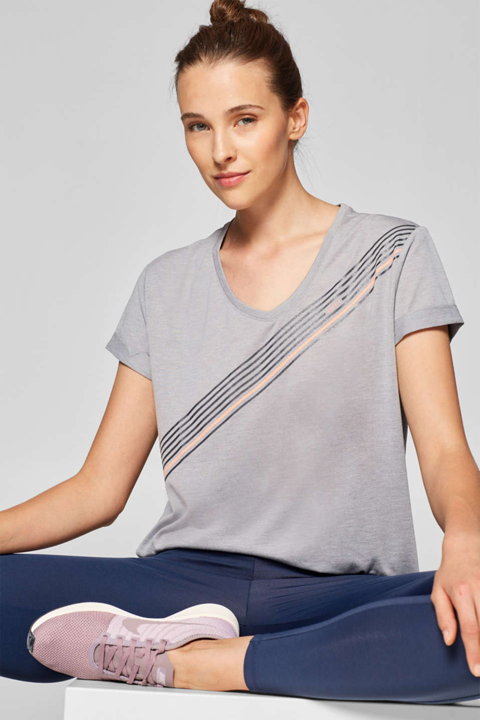 Esprit - Melange T-shirt with a stripe print