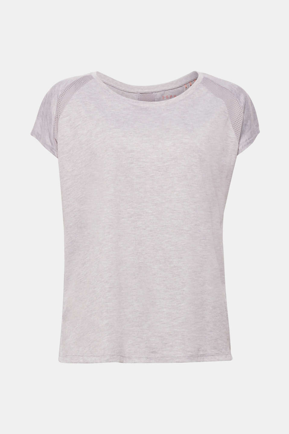 Lightweight, soft and airy, the mottled jersey and mesh inserts on the sleeves and the back give this top its sporty look!