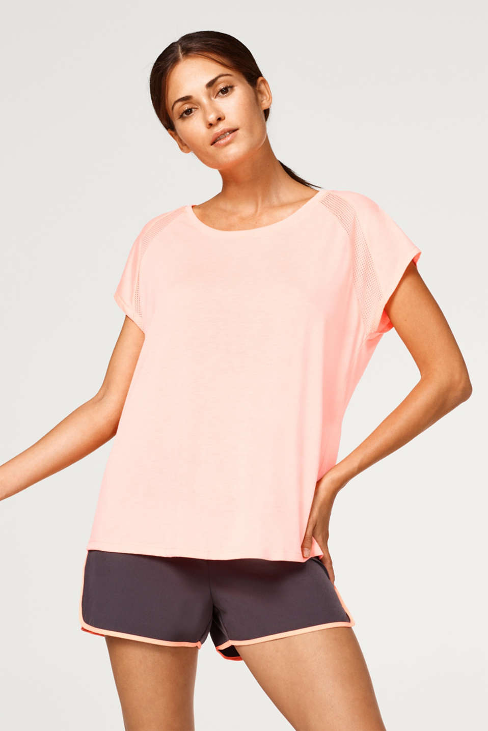 Esprit - Mottled top with mesh inserts