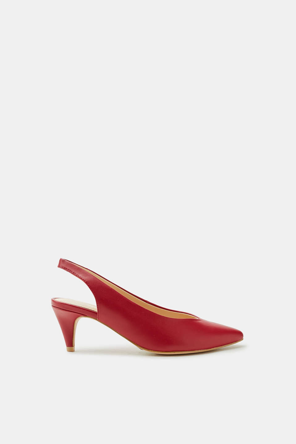 Esprit - Slingback-Pumps in glatter Leder-Optik