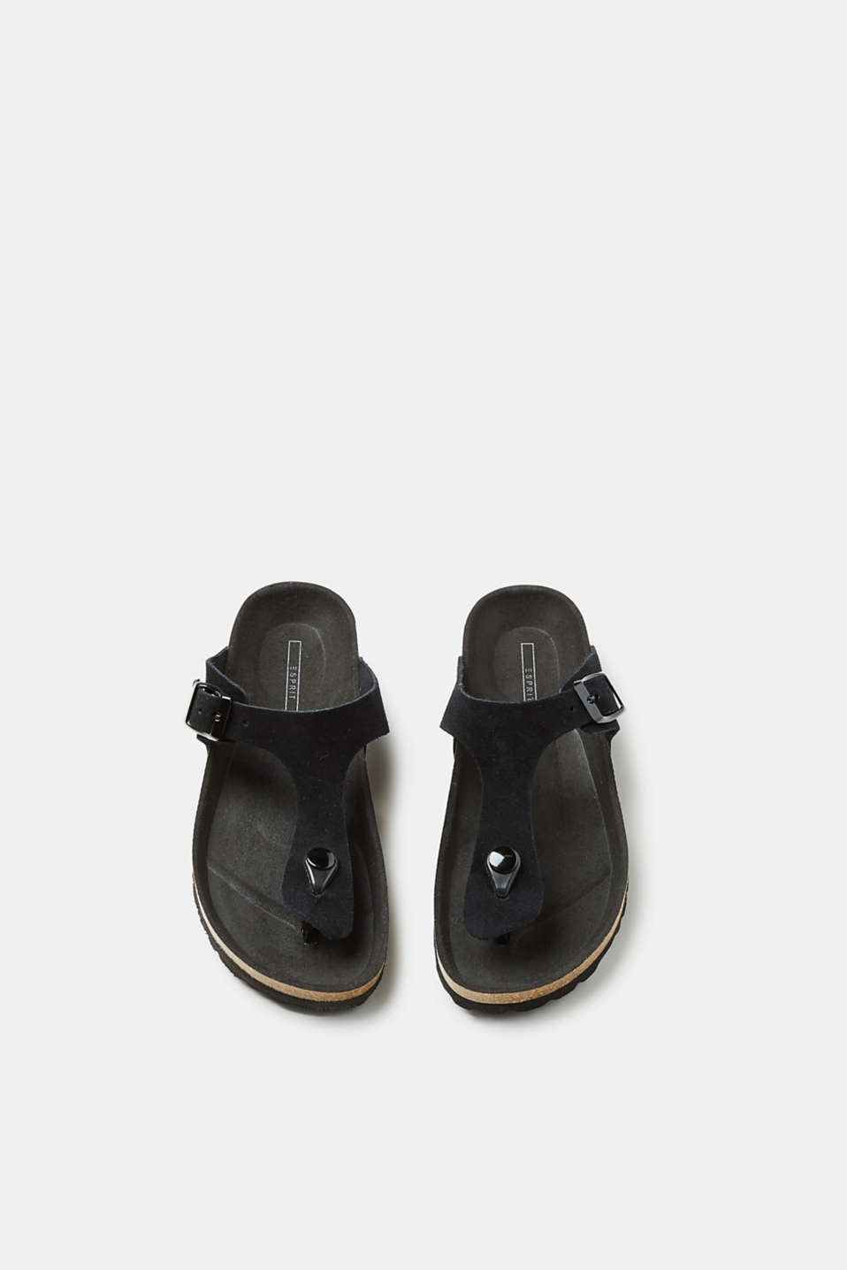 Leather toe-post slip-ons