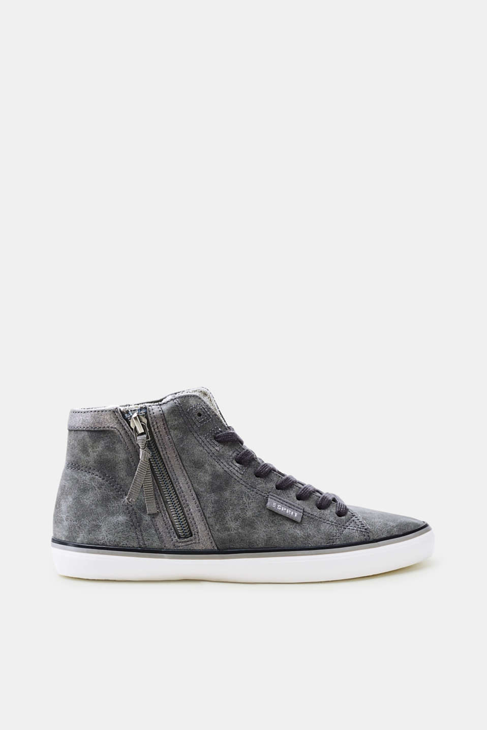 Esprit - High-top trainers in soft faux nubuck leather