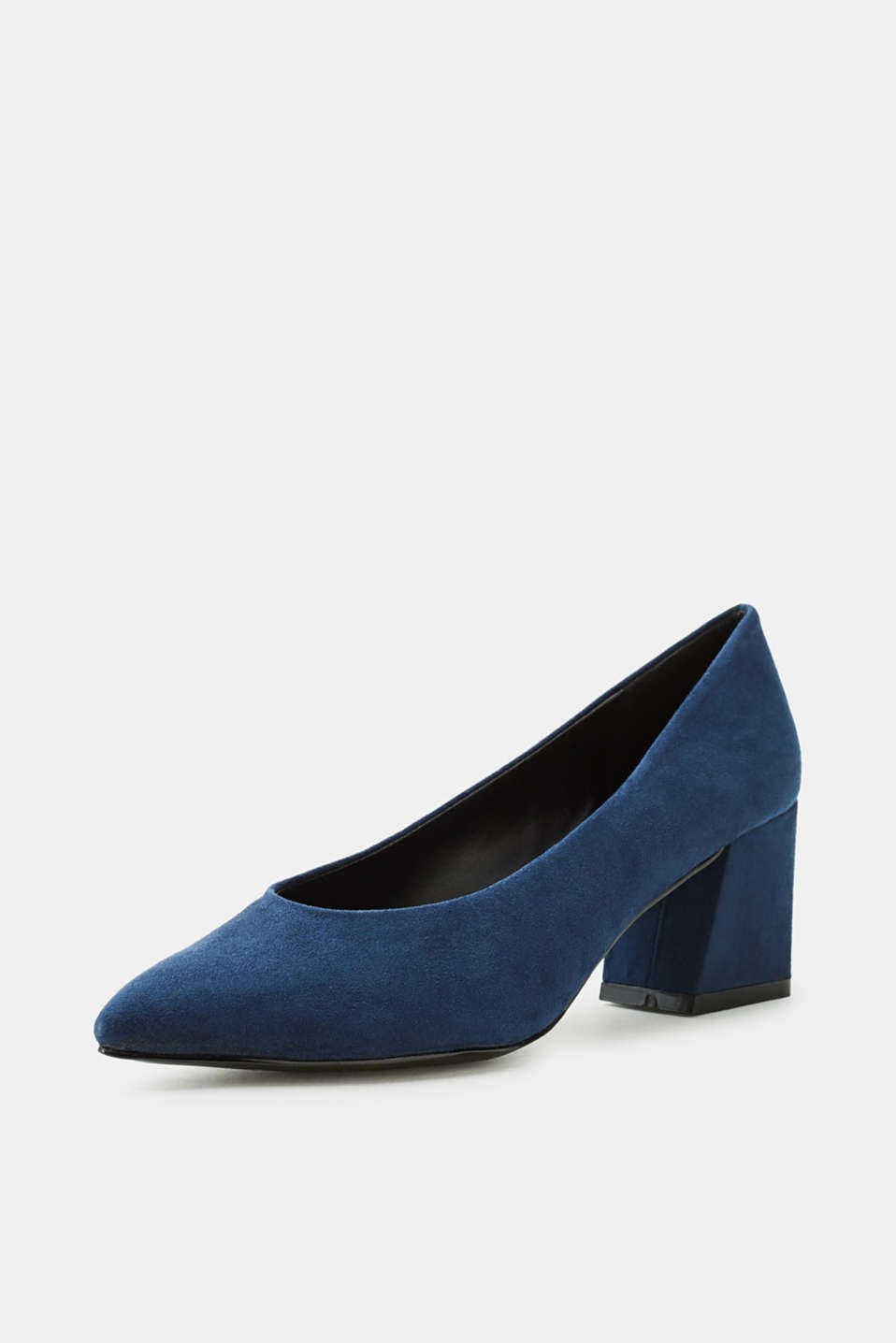 Suede court shoes with a block heel