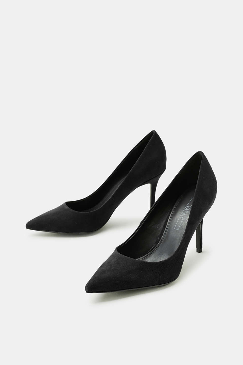 Pointed suede court shoes with a kitten heel