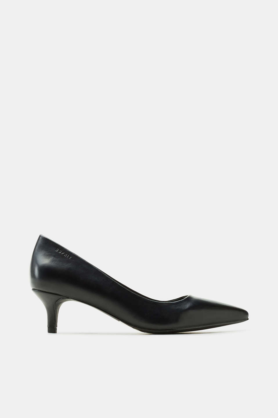 Esprit - Pumps med kitten-heel, i læderlook