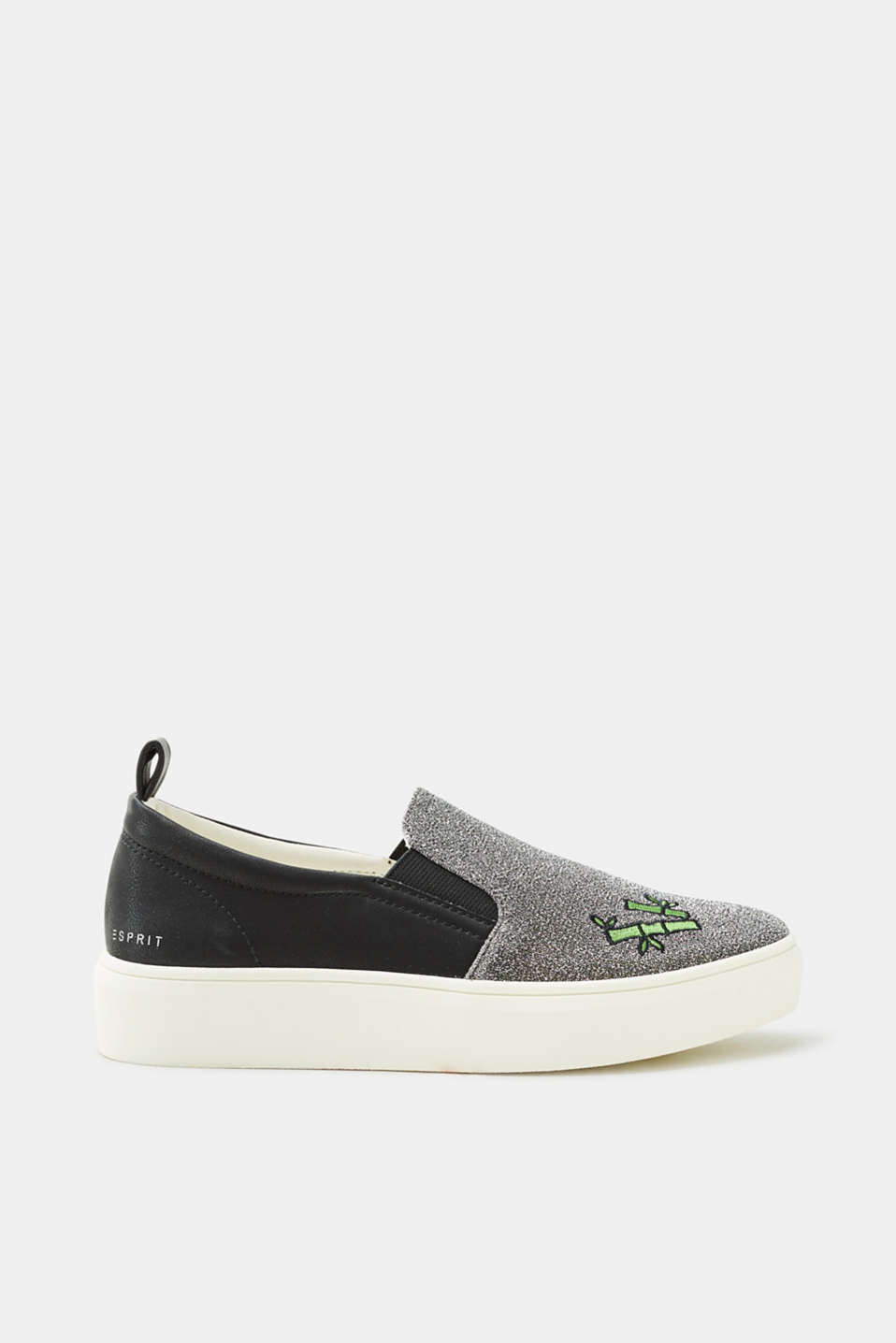 Esprit - Slip-on trainers with glitter and a panda appliqué