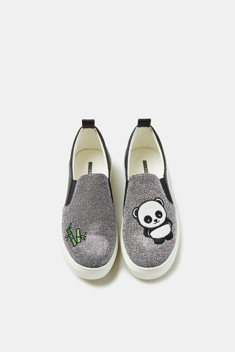 Slip-on trainers with glitter and a panda appliqué