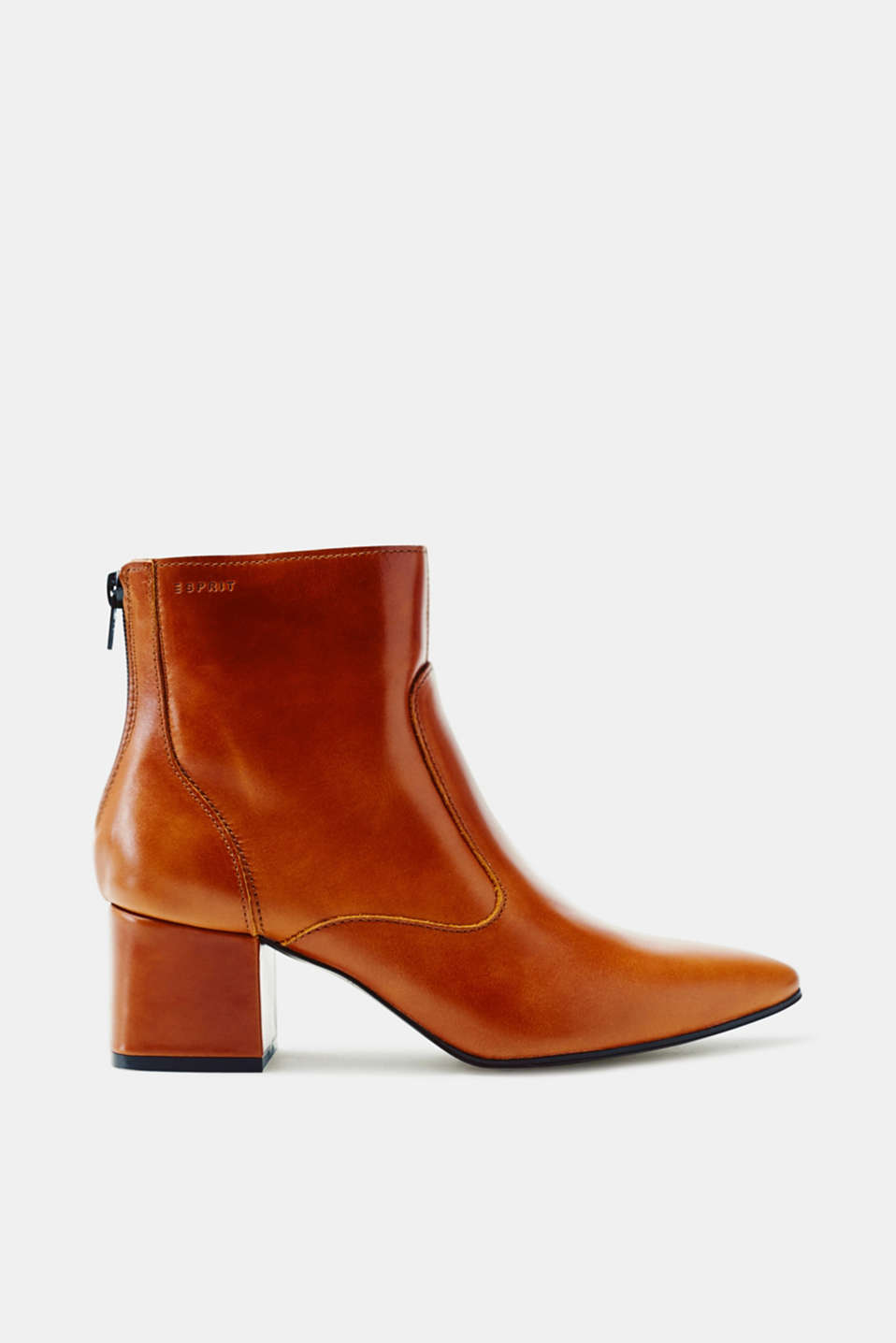 Esprit - Leather ankle boot with a block heel