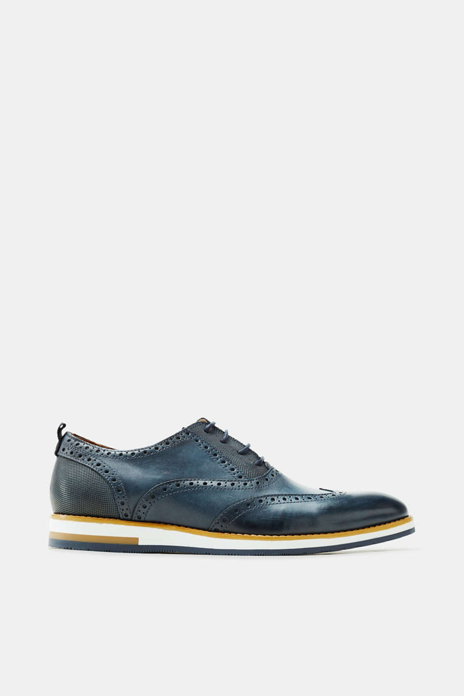 Esprit - Leather Derby shoes with a brogue pattern