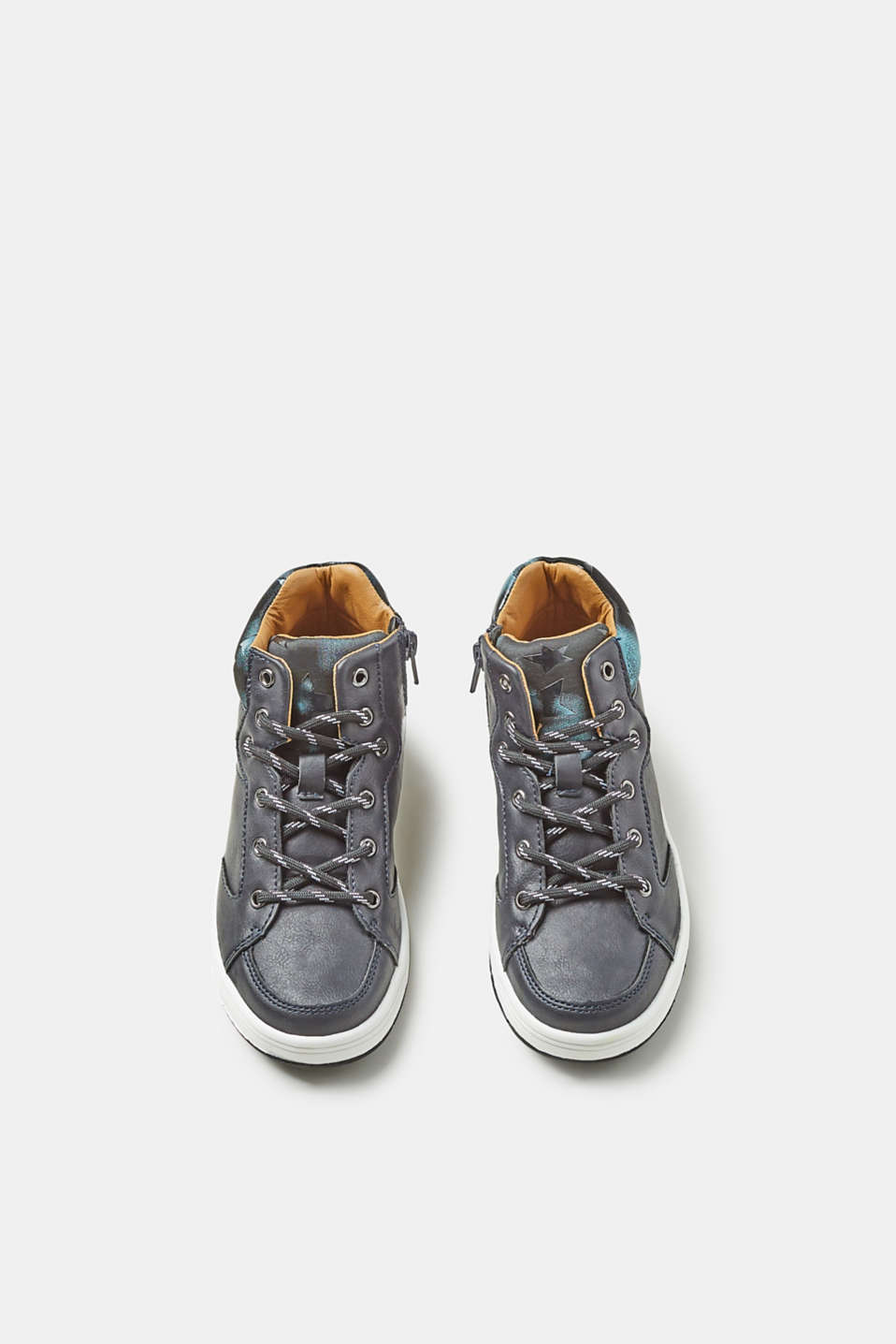 Faux leather trainers with pattern details