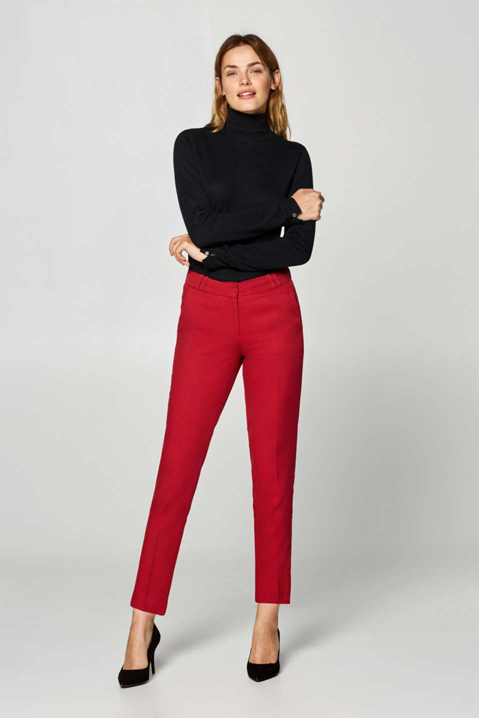 Esprit - Textured trousers with tonal tuxedo stripes