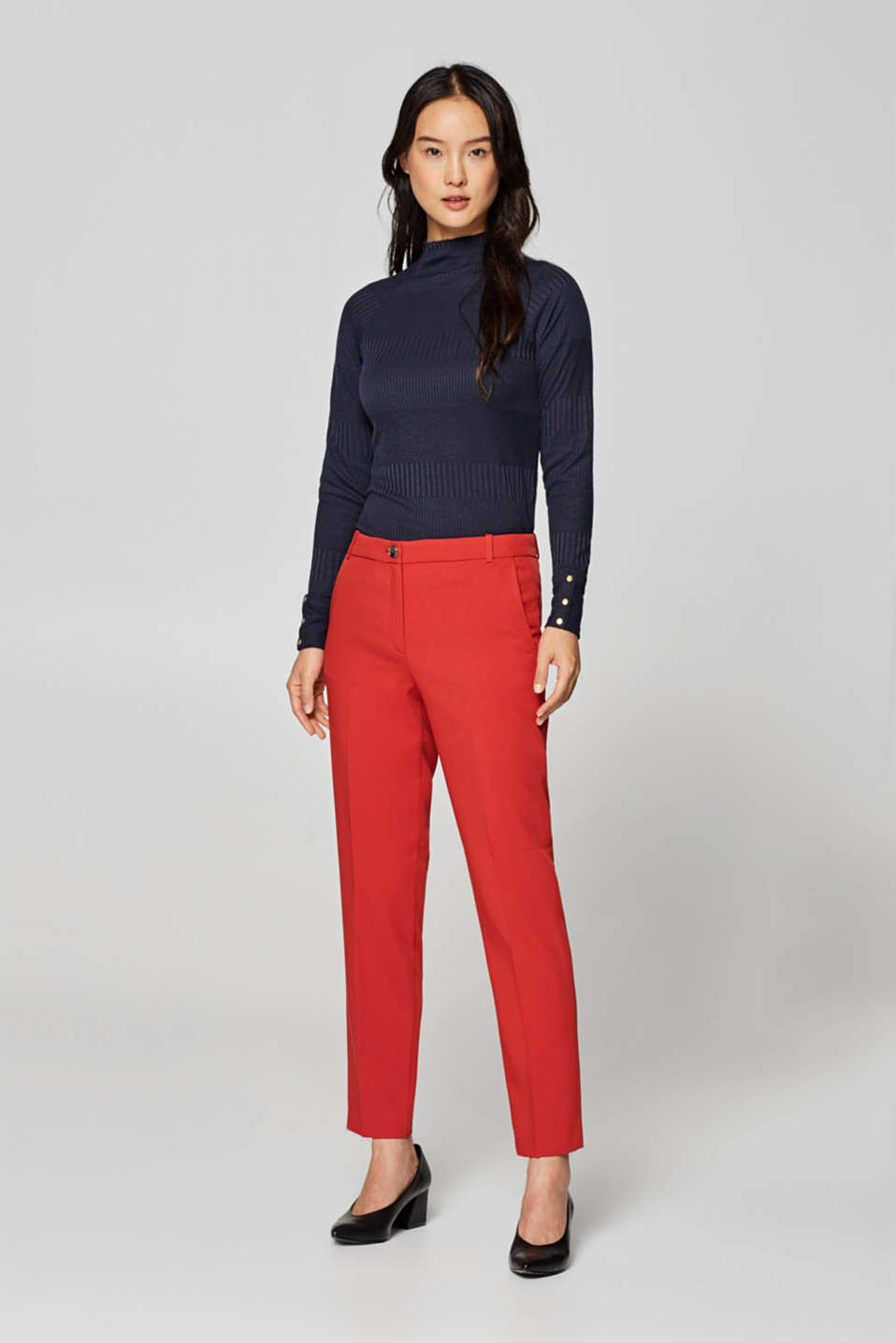 Esprit - TWILL TEXTURE mix + match stretch trousers