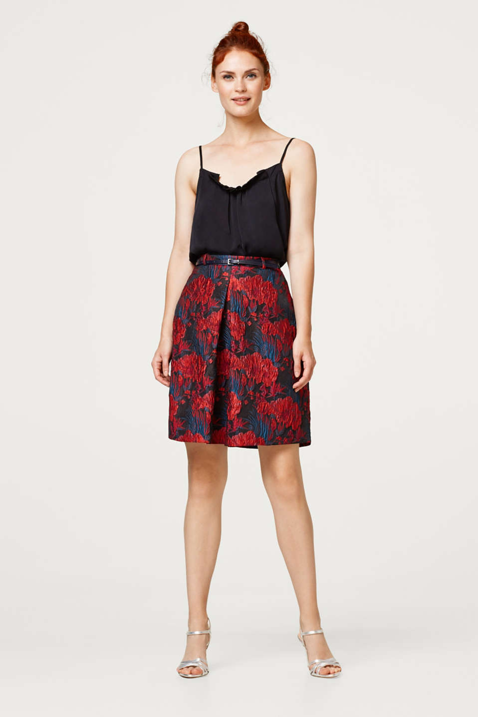 Esprit - Jacquard skirt with with front pleat