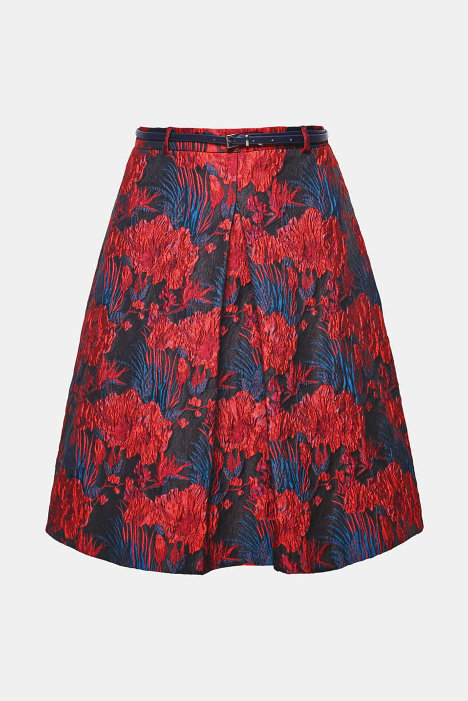 Elaborate jacquard flowers with a relief texture and a subtle sheen give this slightly flared skirt with a central front pleat its exclusive flair!