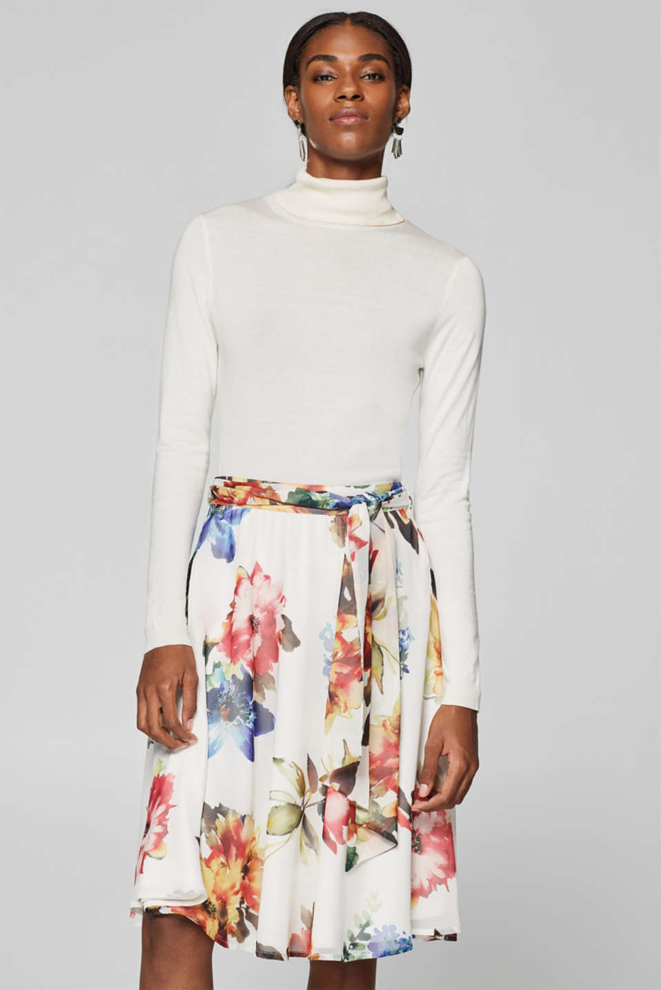 Esprit - Swirling chiffon skirt with a print