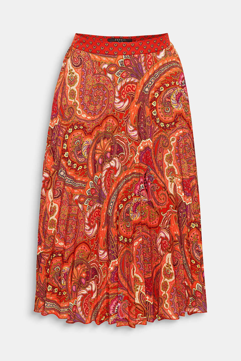 Stylish midi length, elegant paisley print, feminine accordion pleats - this swirling skirt offers everything your heart might desire!