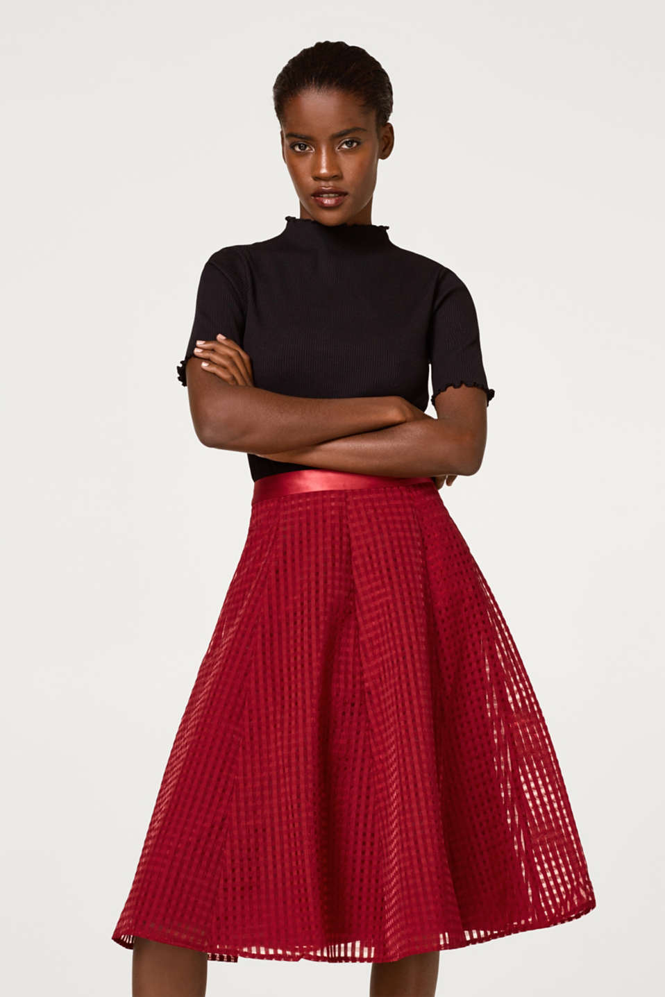 Esprit - Chiffon skirt with a check texture