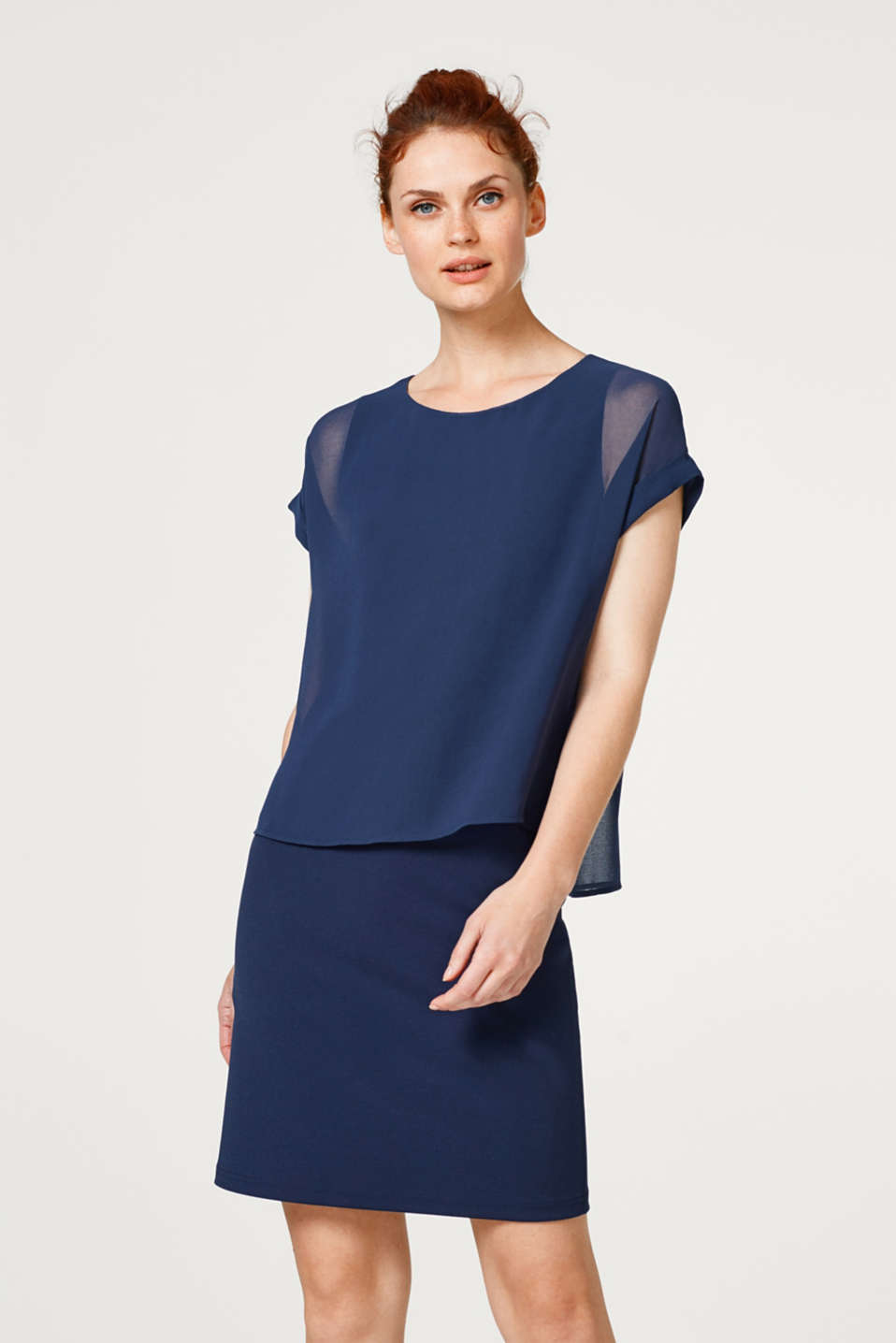 Esprit - Stretch jersey dress with layering