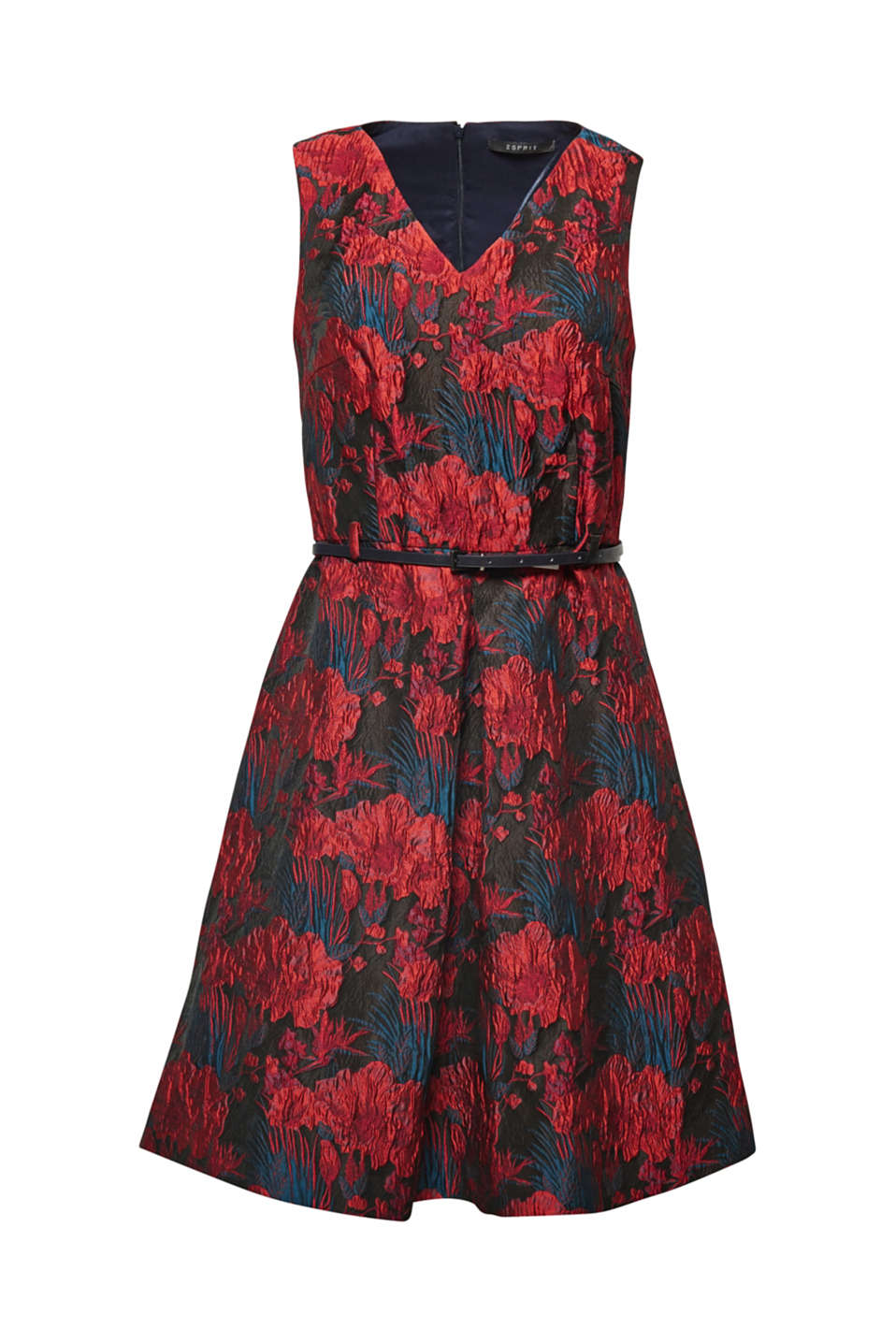 Elaborate jacquard flowers with a relief texture and a subtle sheen give this dress with a slightly flared skirt and central front pleat its exclusive charm!