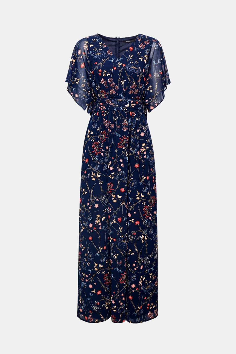 Colourful flowers on dainty chiffon give this maxi dress with transparent cap sleeves a feminine, trendy fairytale look!