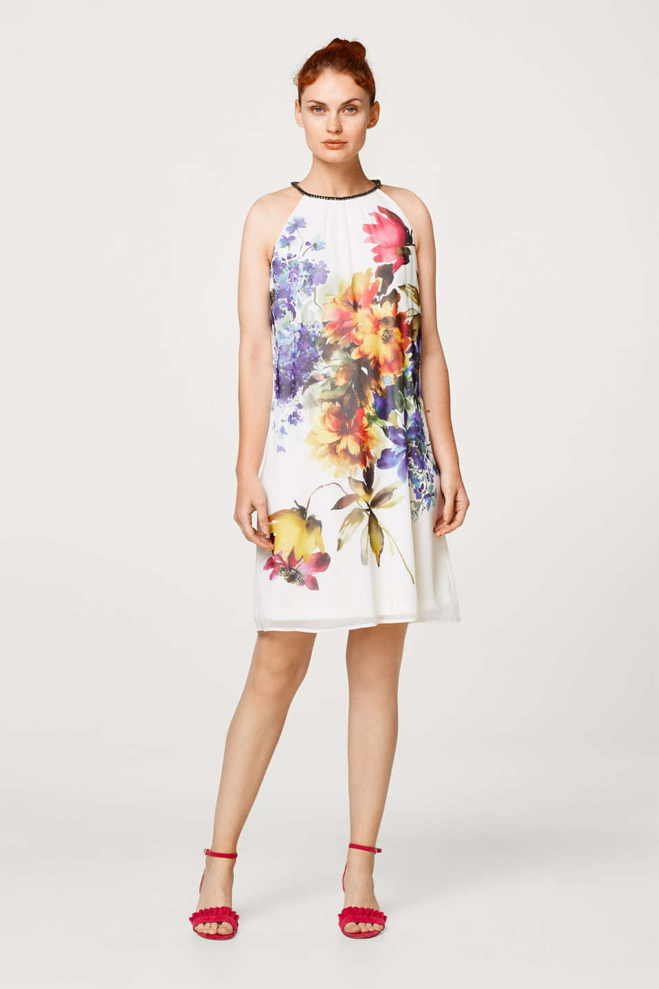 Esprit - Printed chiffon dress with rhinestones
