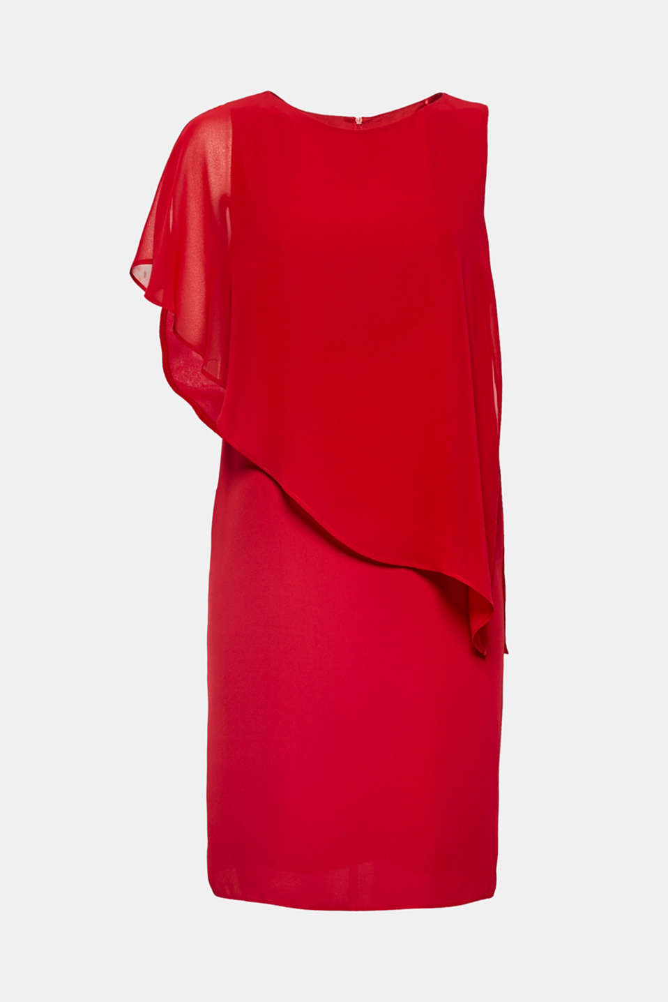 The chiffon layer envelops this softly draped dress in a one-shoulder design like a cape!