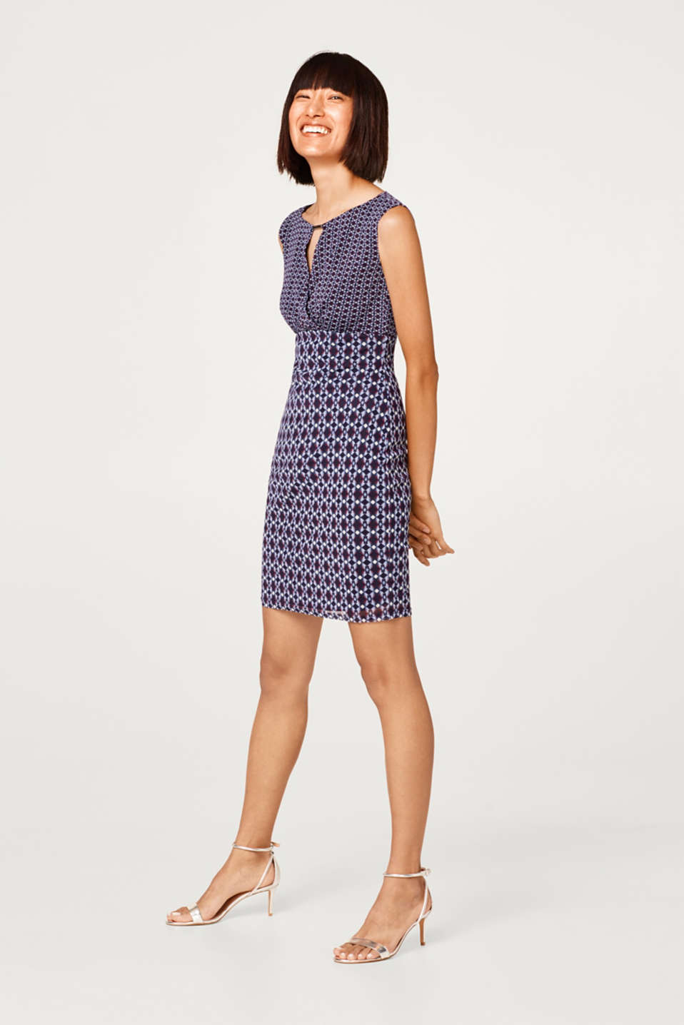 Esprit - Mixed pattern dress made of lightweight mesh