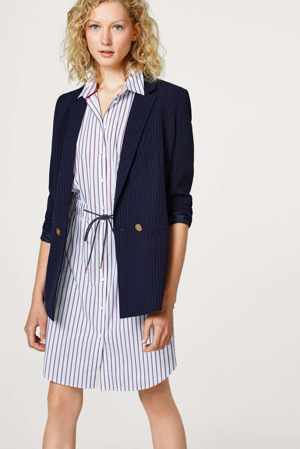 Straight shirt dress with drawstring ties