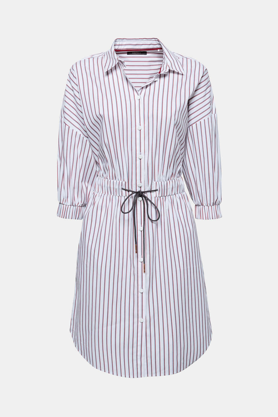 Your classic shirt dress with a sporty note: this striped dress with raglan sleeves and fine drawstring ties will quickly become your new summer favourite.