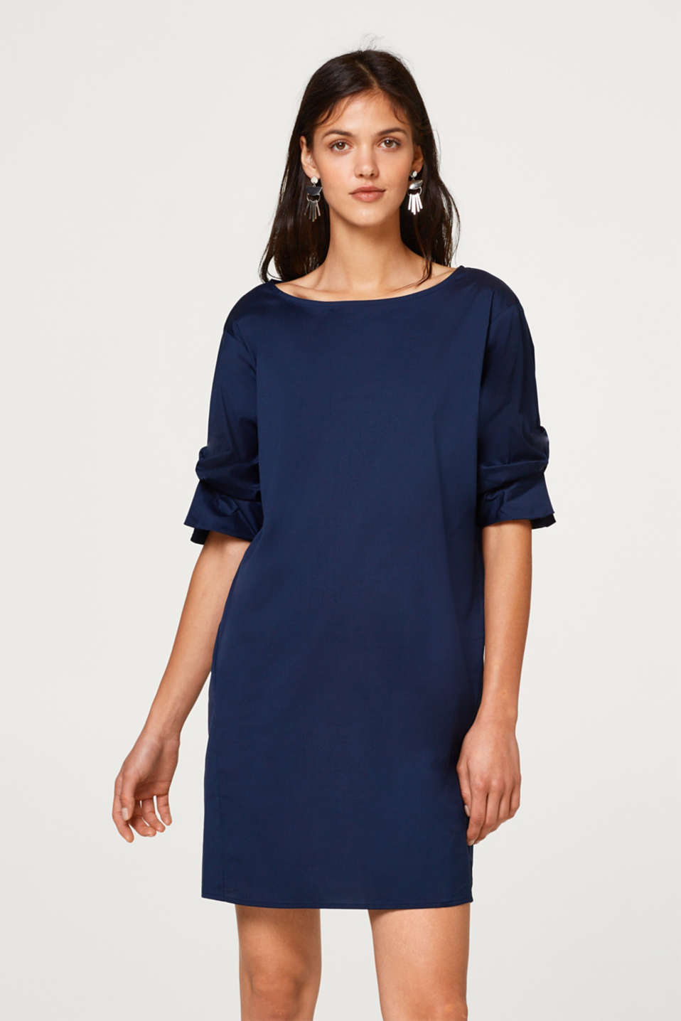 Esprit - Stretch dress with knotted sleeves