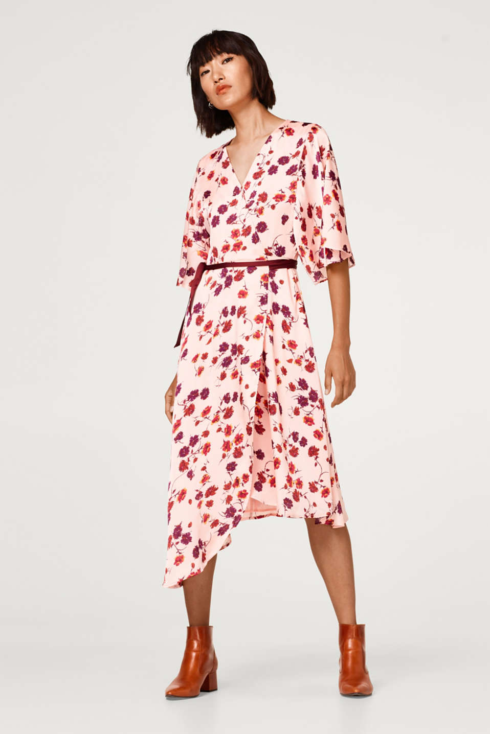 Esprit - Wrap dress with an adjustable waist width