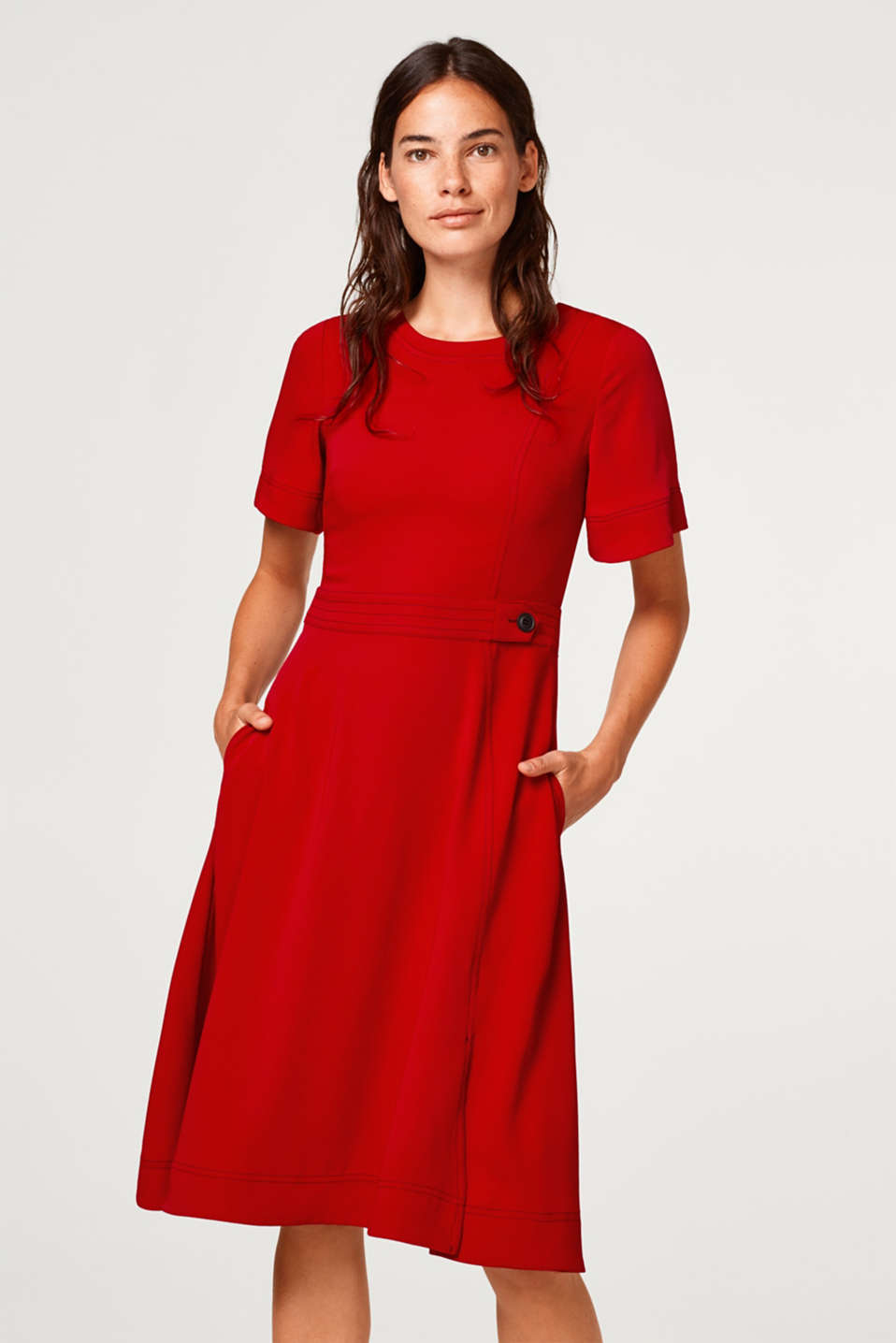 Esprit - Flared dress with cap sleeves
