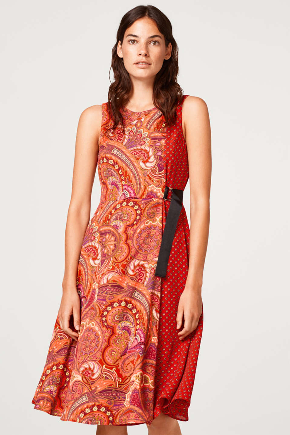 Esprit - Flared wrap-over dress with a mix of patterns