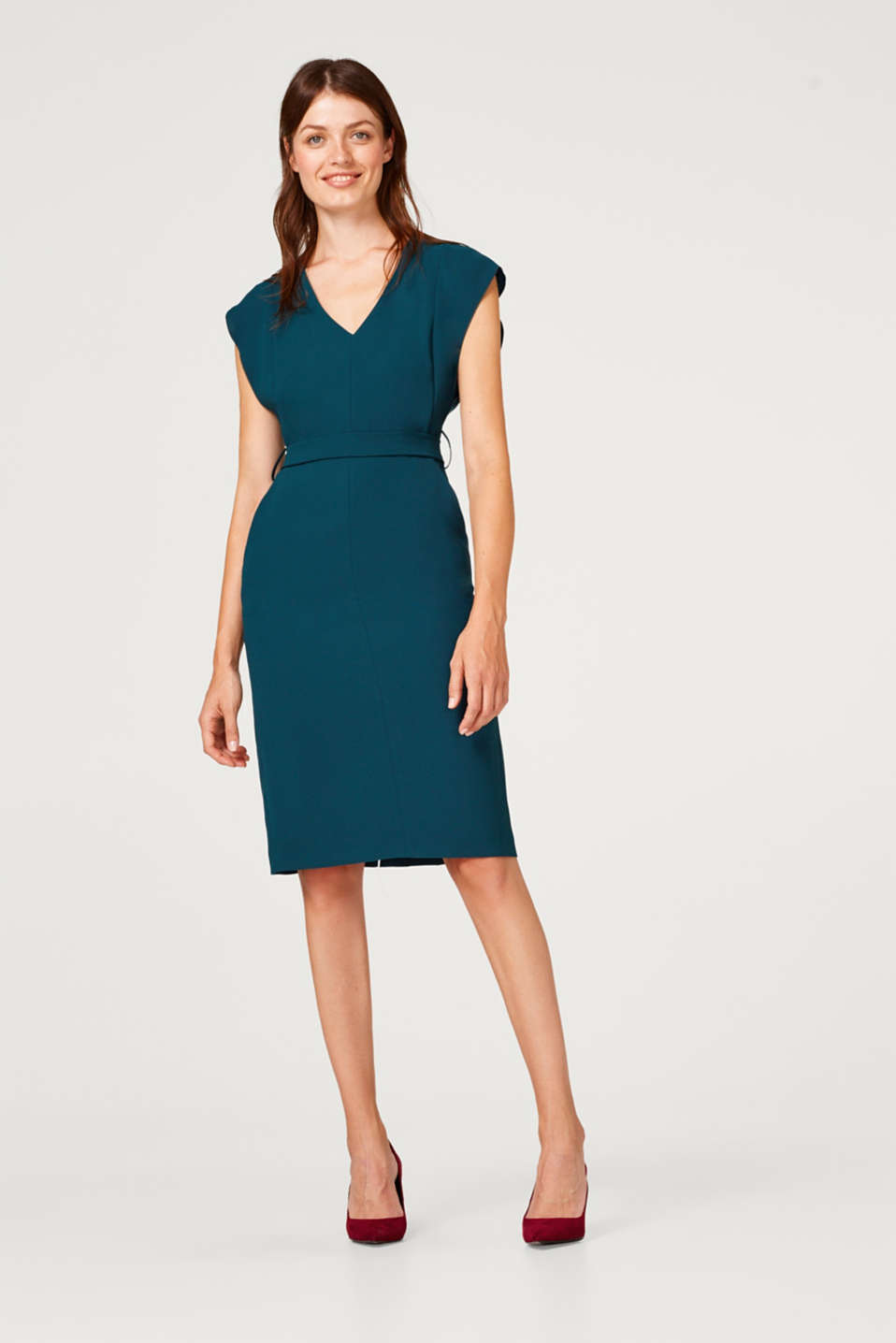 Woven dress with cap sleeves and a tie-around belt