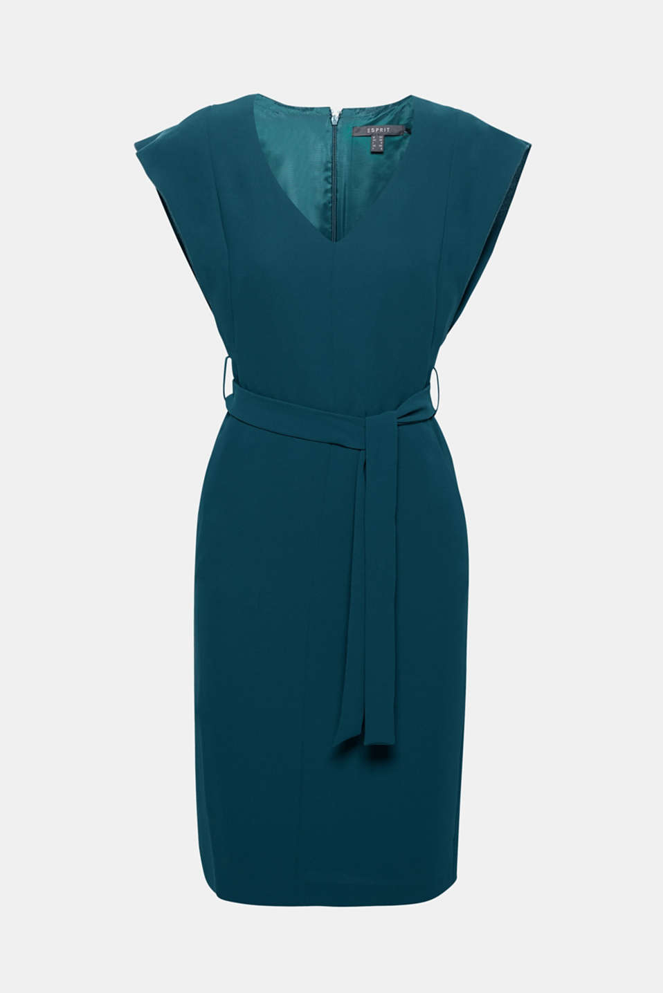 Pretty details add accents: subtle cap sleeves and a wide tie-around belt give this fitted dress in flowing material its feminine look!