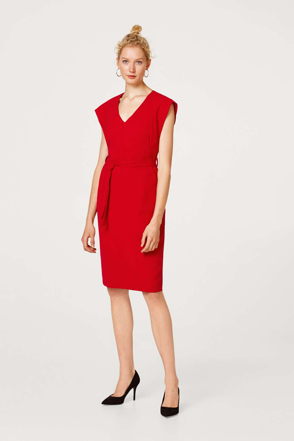 Esprit - Woven dress with cap sleeves and a tie-around belt