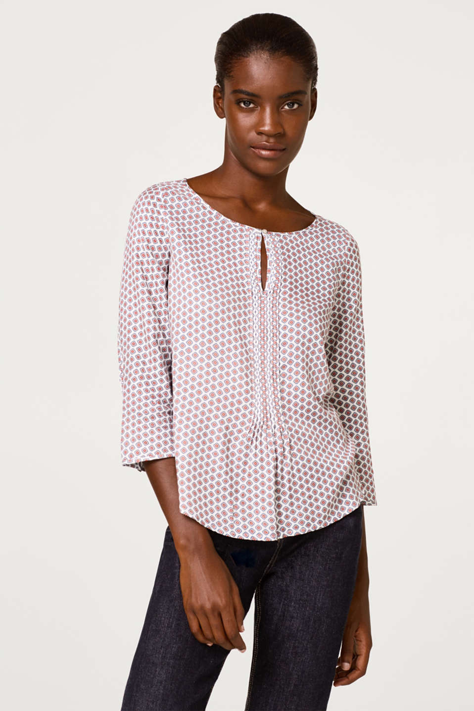 Esprit - Crêpe blouse with pintucks and a floral pattern